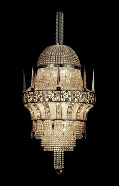 ๑ Nineteen Fourteen ๑ historical happenings, fashion, art style from a century ago - Classic style chandelier - COLOGNE - by Josef Hoffmann - J. Art Nouveau, Luxury Lighting, Unique Lighting, Vintage Lighting, Antique Chandelier, Chandelier Lighting, Bronze Chandelier, Beaded Chandelier, Cool Chandeliers
