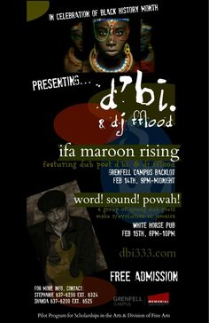 ifa maroon rising is an ancient new musical-poetical-spiritual collaboration between dub poet d'bi. and dj fflood.