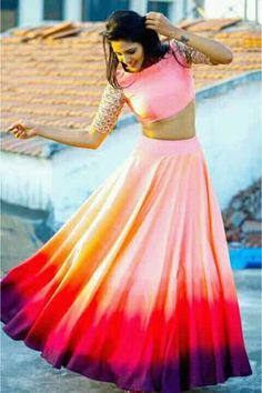 Taffeta And Silk Party Wear Crop top lehenga In Multicolour Colour Indian Gowns Dresses, Indian Fashion Dresses, Indian Designer Outfits, Vestido Crop Top, Crop Top Dress, Lehenga Choli Designs, Frock Design, Cropped Tops, Festival Looks