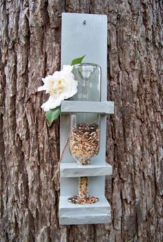 I'm nutty over bird houses and feeders, but have never seen this idea before ! So easy and make ! Wine Bottle Bird Feeder Medium Bird Lover Gift by RedFernBoutique Wine Bottle Art, Wine Bottle Crafts, Diy Wine Bottle Bird Feeder, Bottle Bottle, Bottle Labels, Craft Projects, Projects To Try, Spring Projects, Craft Ideas