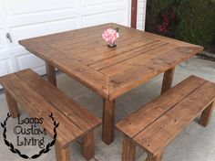 Farmhouse table, square table, wood table, DIY patio table and benches,