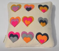 Wool Felt Cushion - Mini 'Pop Heart'. £35.00, via Etsy.
