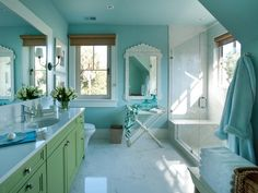 The 2013 Dream Home bathroom makes every day a trip to the spa with a coat of blue paint on the walls and ceiling. (http://www.hgtv.com/dream-home/hgtv-dream-home-2013-twin-suite-bathroom-pictures/pictures/index.html?soc=Pinterest)