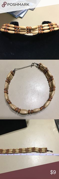 """Wooden bead CHOKER Two toned wooden beads choker with adjustable closure-15"""" max Jewelry Necklaces"""