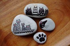 Steine bemalen, süße Katzenmotive
