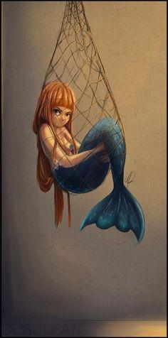 little mermaid girl caught in a net Siren Mermaid, Mermaid Cove, Mermaid Art, Fantasy Creatures, Mythical Creatures, Sea Creatures, Mermaids And Mermen, Merfolk, You Draw