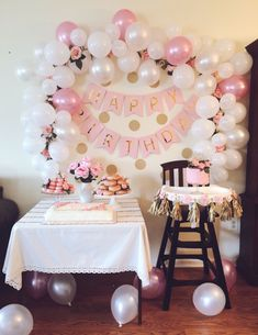 Aria's Pink and Gold First Birthday Party #birthdaycakes