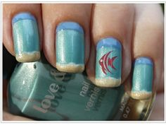 Such a cute beach manicure! Love this fish nail art. Fish Nail Art, Fish Nails, Fancy Nails, Trendy Nails, Cotton Candy Nails, Vacation Nails, Cruise Nails, Beach Nails, Colorful Nails