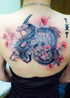 Flowers Dragon Tattoo Designs - http://tattootodesign.com/flowers-dragon-tattoo-designs/ | #Tattoo, #Tattooed, #Tattoos
