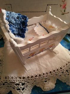 Cradle  Baby   Dollhouse   scale 1:12 by LaboratoriodiManu on Etsy