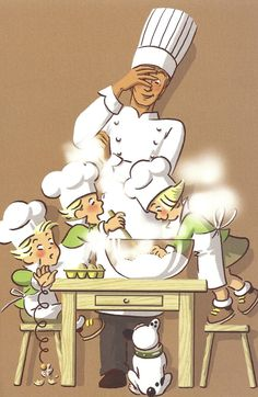 Famous French comic, Les Triplets preparing a snack