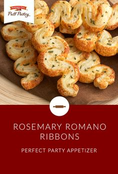 Elegant cocktail parties are not complete without these simple, delectable Puff Pastry Rosemary Romano Ribbons. They're also a perfect appetizer to dress up the menu for your next dinner party. The fresh rosemary and romano cheese on flaky Puff Pastry is irresistible!