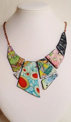 Necklace polymer clay Patchwork unique