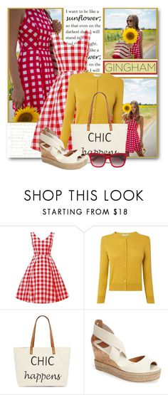 """""""Chic Happens:  Gingham Dress"""" by brendariley-1 ❤ liked on Polyvore featuring L.K.Bennett, Straw Studios, Tory Burch, Gucci, dress and gingham"""