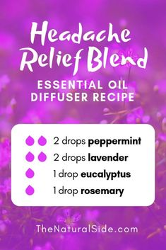 New to Essential Oils? Searching for Simple Essential Oil Combinations for Diffuser? Check out these 21 Easy Essential Oil Blends and Essential Oil Recipes Perfect for Beginners. #essentialoil #diffuser #headache Headache Relief Blend 2 drops peppermint + 2 drops lavender + 1 drop eucalyptus + 1 drop rosemary