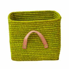 Rice DK Green square woven raffia storage basket with Tan leather handles. Match with the mulit coloured raffia basket also by Rice DK Storage Boxes, Storage Baskets, Baby Storage, Storage Shelving, Diy Leather Handle, Best Foods For Skin, Square Baskets, Toy Basket, Mint