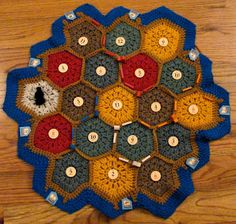Settlers of Catan -- crochet? I'm going to try this but by knitting. Crochet Game, Knit Crochet, Crochet Ideas, Geek Crafts, Yarn Crafts, Catan Board, Settlers Of Catan, Knitting Projects, Etsy Store