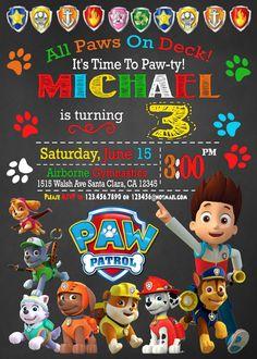 PAW PATROL INVITATION Paw Patrol Birthday Invitation by mymyparty