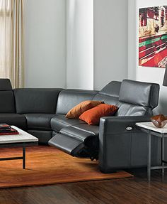 Nicolo Leather Sectional Living Room Furniture Sets & Pieces, Power Reclining