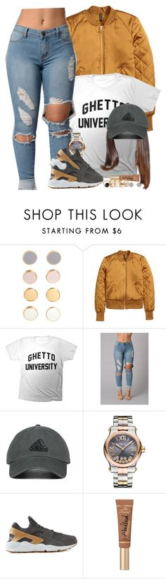 """Dark Grey & Yellow Gold"" by oh-aurora ❤ liked on Polyvore featuring H&M, adidas Originals, Chopard, NIKE, Too Faced Cosmetics and GUESS"