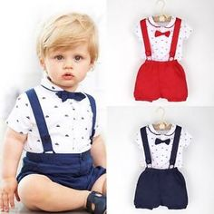dfb96aa0234 2017 Summer Toddler Baby Kids Clothes Infant Boys Gentleman Outfits T-shirt  Romper Tops + Suspender Shorts Set