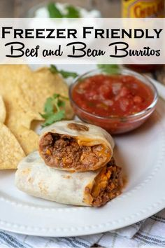 Skip the store- bought variety and make your own Freezer Friendly Beef and Bean Burritos at home. A far tastier and much more wholesome choice. #burritos #frozenburritos #freezerfriendly