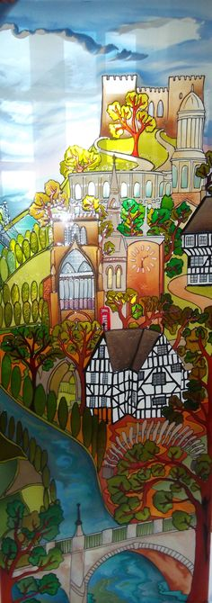 """""""  'Shrewsbury on a Hill'  Hand painted stained glass style panel.  Kay commissioned me to design this panel depicting many of the local landmarks and buildings in her home Town. I absolutely love how it turned out. Thank you for the challenge Kay. If you have an idea for a painted glass panel contact me at debsinledbury@live.co.uk """""""