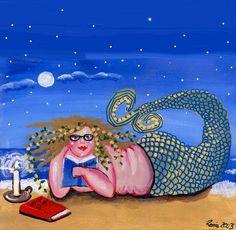 Nerd Mermaid Books Fun Folk Art Pillow - Woven Throw Pillow Whimsical Art by Renie Britenbucher Fat Mermaid, Mermaid Dolls, Mermaid Art, Mermaid Paintings, Mermaid Images, Wall Art Prints, Fine Art Prints, Framed Prints, Canvas Prints
