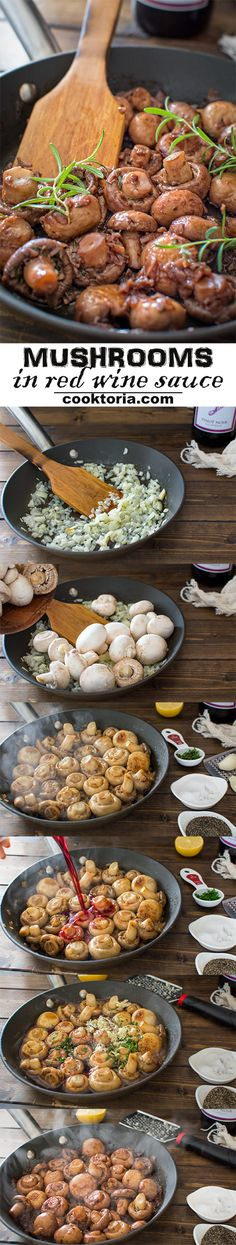 These white mushrooms cooked in rich and buttery red wine sauce make an elegant side dish that everyone will love!COM--use vegan butter/smart balance Vegetable Side Dishes, Vegetable Recipes, Vegetarian Recipes, Healthy Recipes, Side Dish Recipes, Wine Recipes, Cooking Recipes, White Mushrooms, Mushroom Recipes