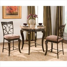 Steve Silver Company Hamlyn 3  Piece Round Counter Height Dining Table Set in Brown - HL600PT-3Pc-Dining-PKG - Lowest price online on all Steve Silver Company Hamlyn 3  Piece Round Counter Height Dining Table Set in Brown - HL600PT-3Pc-Dining-PKG