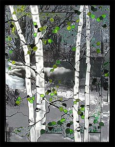 These four panels are meant to be hung side-by-side to create a scene depicting the four seasons.  Title:  Four Seasons Mt. Sopris...  4 of 4