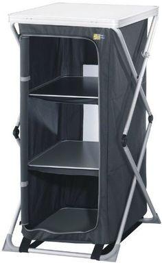 Campingschrank grau 62x50x121cm (klein faltbar, klappbar,ideal zum Campen oder fürs Vorzelt)