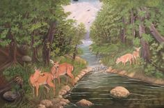 (c) High Falls' Woods 2015 by Marwan Kishek. Oil on canvas High Falls, Oil On Canvas, Canvas Paintings, Natural Scenery, Landscape Paintings, Woods, Deer, Colours, Art Oil