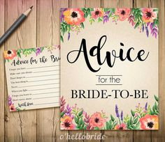 Advice for the Bride to Be Bridal Shower  Advice by ohellobride
