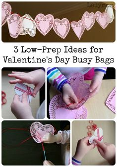 Valentine's Day Activities for Kids- 3 Low Prep Busy Bags- Simple setup, few materials needed. Valentines Day Activities, Valentine Day Crafts, Craft Activities, Be My Valentine, Motor Activities, Valentine Ideas, Kids Valentines, Alphabet Activities, Holiday Activities