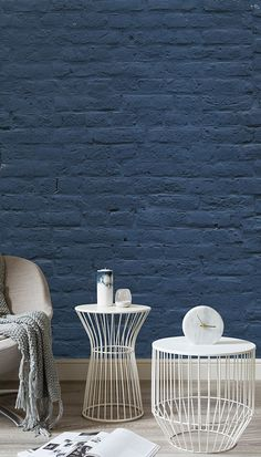 Take a twist on the ordinary brick wall with this faux wallpaper. The denim blue walls bring a contemporary feel to your home as well as bringing a sense of calm. Painted Brick Walls, Brick Accent Walls, Faux Brick Walls, Accent Walls In Living Room, Brick Bedroom, Painting Brick Interior, Interior Paint, Brick Wallpaper Mural, Wall Mural