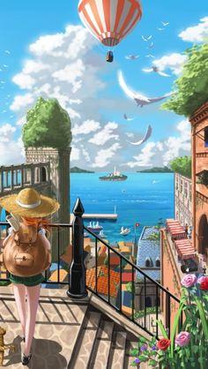 Anime picture original pixiv fantasia pixiv fantasia new world doora long hair single 323199 en Japon Illustration, Family Illustration, Aesthetic Drawing, Aesthetic Art, Anime Scenery Wallpaper, Beach Town, City Art, Colorful Drawings, Insta Photo