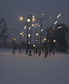 """Street Lamp Forest"" installation by Sonja Vordermaier of ""a collection of 30 european streetlamps from different origins and times."""