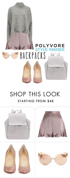 """""""Untitled #1901"""" by katerina-rampota ❤ liked on Polyvore featuring Zimmermann, Christian Louboutin, Linda Farrow, Designers Remix, backpacks, contestentry and PVStyleInsiderContest"""