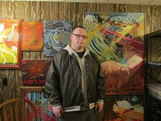 John Franklin, a Studio 35 artist from DE, standing in front of some of his incredible work. #FHR #Studio35 #ArtTherapy www.fellowshiphr.org