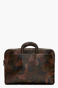 PAUL SMITH Black & Brown Leather Camo Print Briefcase