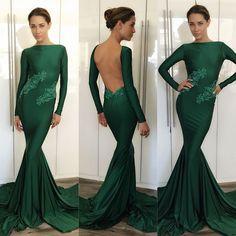 Green Bateau Neck Court Train Chiffon Trumpet Mermaid Prom Evening Dress Cwb0283