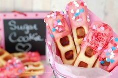 The Sweet Chick: Sugar Cookie Waffle Sticks - would bake for 11 minutes at 350 degrees and check for doneness Waffle Stick Pan Recipe, Waffle Sticks, Cream Cheese Muffins, Cream Cheese Filling, Cookie Recipes, Dessert Recipes, Cookie Ideas, Pan Cookies, Sugar Cookies