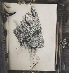 pencil, drawing, illustration, art, retro, vintage, old, animal, abstract, i ' m groot, groot, wood, guardians of the galaxy