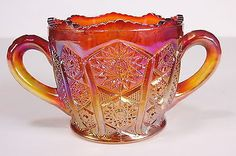 Indiana Glass Heirloom Sunset Carnival Double Handle Open Sugar Bowl Vtg