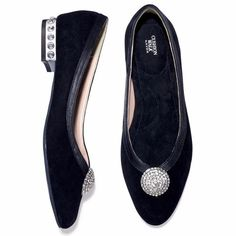 Cushion Walk Genuine Suede Jeweled Flat Cushion Walk Genuine Suede Jeweled Flat, BLACK WITH SILVER JEWELS Avon Shoes Flats & Loafers