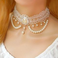 $6.29 Exquisite Faux Pearl Tassels Embellished Lolita Lace Necklace For Women