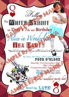 DSP Manila: Alice in Wonderland Birthday Party Invitation Little Boy And Girl, Little Boys, Boy Or Girl, Party Giveaways, Alice In Wonderland Birthday, Printable Invitations, Manila, Party Hats, Birthday Party Invitations