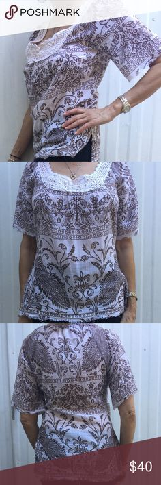 """""""Joie"""" cotton gauze tunic top w/crochet neckline,S Lightweight 100% cotton gauze Joie tunic top with hippy-cool crochet neckline. Very bohemian-chic! Cream with brown print. Very airy and easy to throw on with anything! EUC Joie Tops Tunics"""
