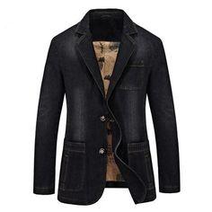 Men Suits MOGU Denim Blazers Men 2017 Spring New Fashion Jean Blazer Jacket Slim Fit Suits For Male Casual Blazer Asian Size Men's Jackets